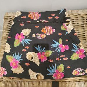 Novelty Sea like print cotton skirt Vintage style